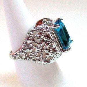 302 Ring Size 9 Simulated Blue Sapphire Art Deco
